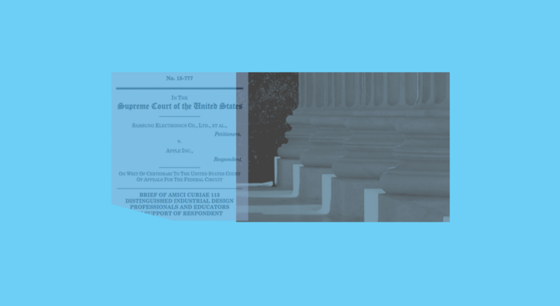 Cover page of legal document overlayed on image of base of columns from front of Supreme Court