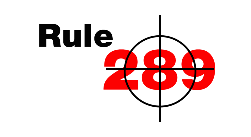 "Graphic of displaying text ""Rule 289"""