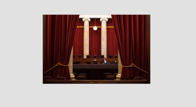 Image showing a curtain being pulled to reveal the US Supreme Court Chamber