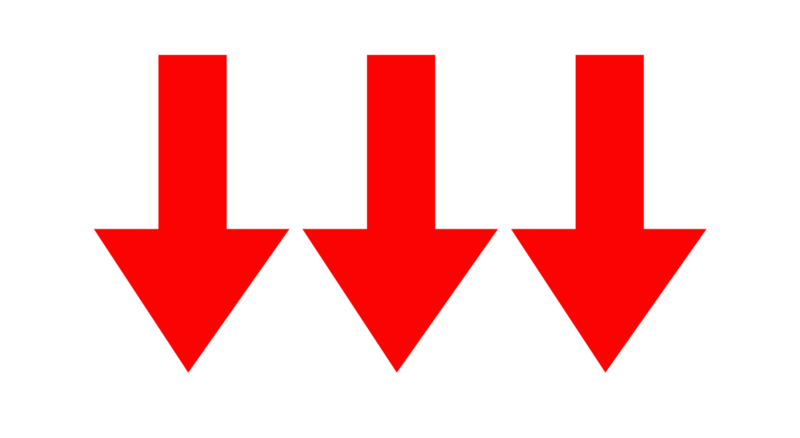 Red downwards pointing arrows