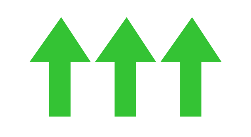 Upwards pointing green arrows